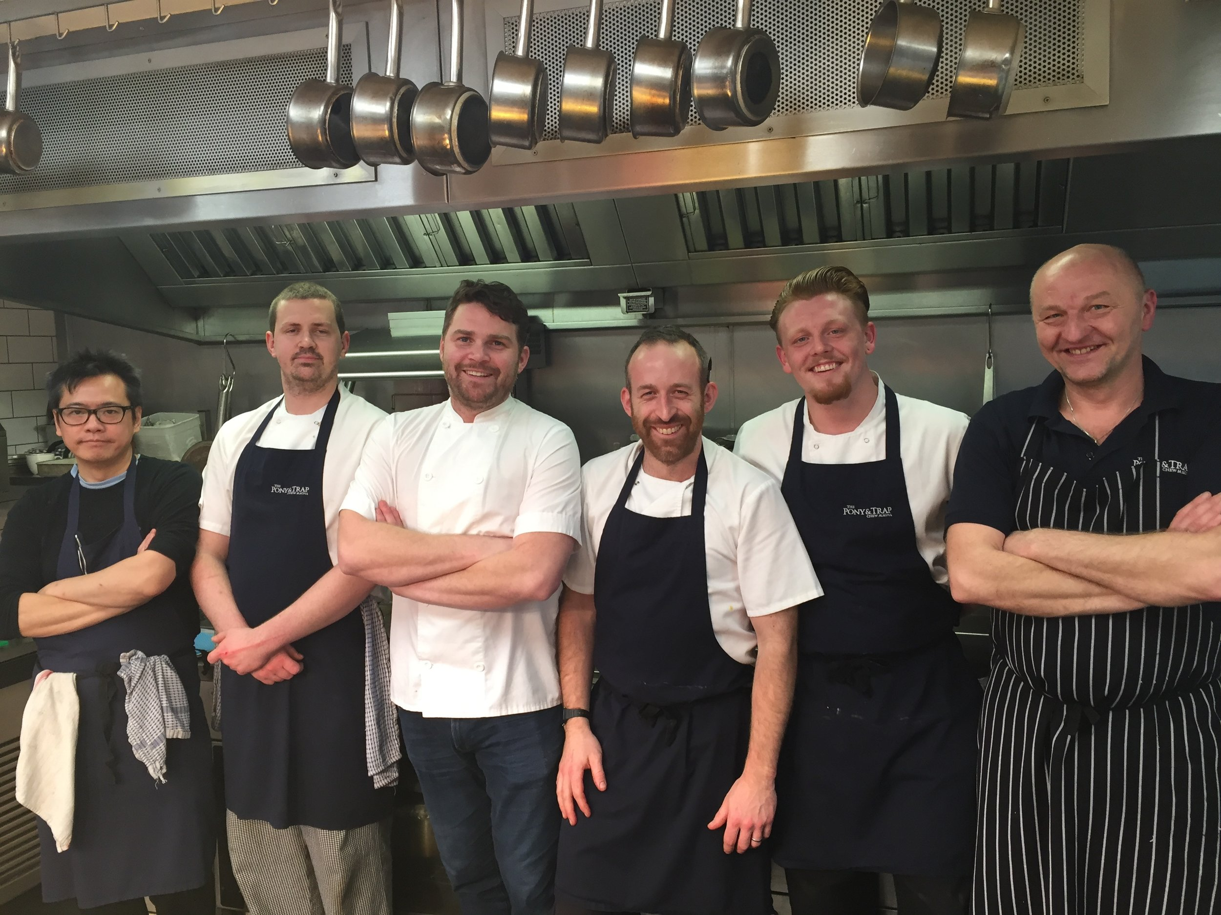 Jacky Chan (furthest left) with Josh Eggleton and the team at The Pony & Trap, Bristol