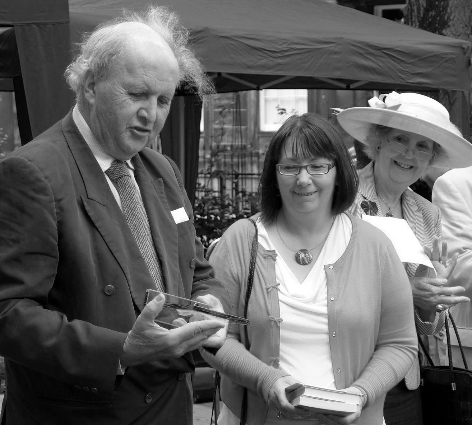 Alexander McCall Smith presents Sandra Ireland with the 2014 Scottish Arts Club Short Story Award for her brilliant story, The Desperation Game