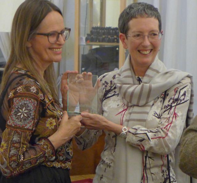 Receiving my award at the Scottish Arts Club Story awards Dinner, with Sara Cameron McBean