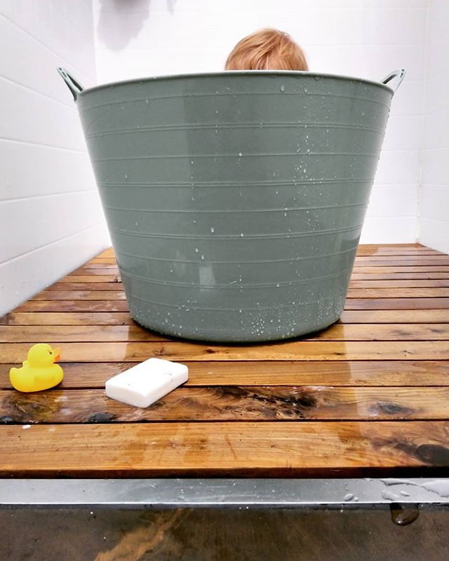 Tiny house shower is multi use. It's a tiny house thing I guess. . #tinyhouse #tinyhousenz #shower #bath #bathing #babyshower #baby #tinyhome #bathroom #ceder #stainlesssteel #clean #cleaning #soap @laminexau