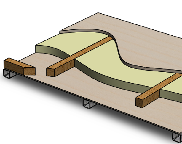 Example construction of a tiny house subfloor on a steel trailer