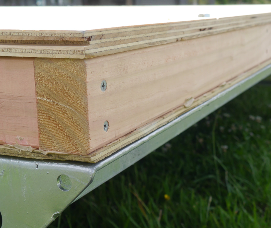 Example of tiny house subfloor attached to a steel trailer