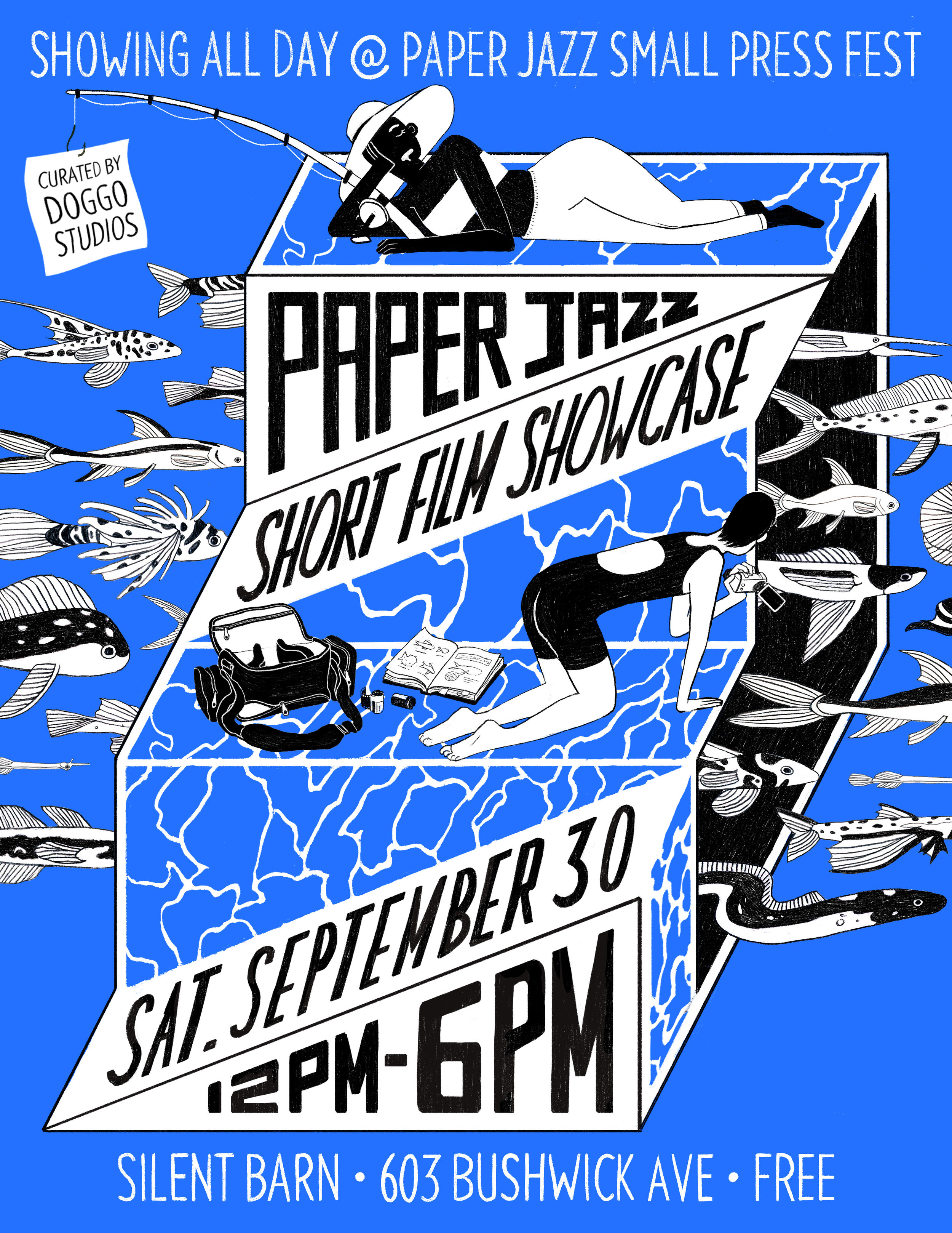 Short Film Showcase Fall 2017 - The 4th semi-annual Paper Jazz Small Press festival once again took place at Silent Barn in Brooklyn, NY. This was our third showcase there, and we kept up with our tradition of hosting Short Films in the Fall.Flier Design by: Angelica AlzonaHere is every NYC-based filmmaker who participated:Benjy BrookeZine HugFaye KahnAlexandra BarskyKeenon FerrellMarika CowanMaya EdelmanAlexander LairdAlessandro EchevarriaStephen SuesDennis MoranPeter SchmidtDrew ShieldsBarry BrunerNogDeanna DeMaglie
