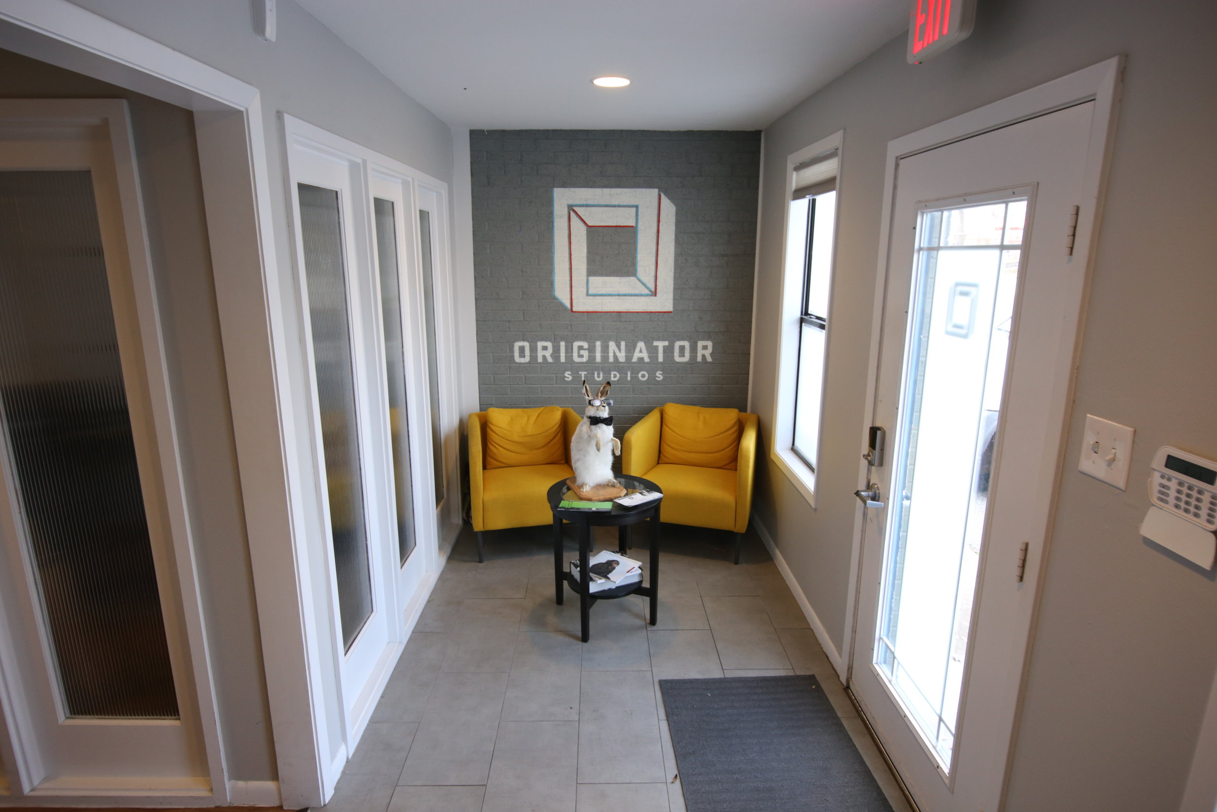 The main lobby of Originator Studios is where studio mascot Mr. Muffin resides.