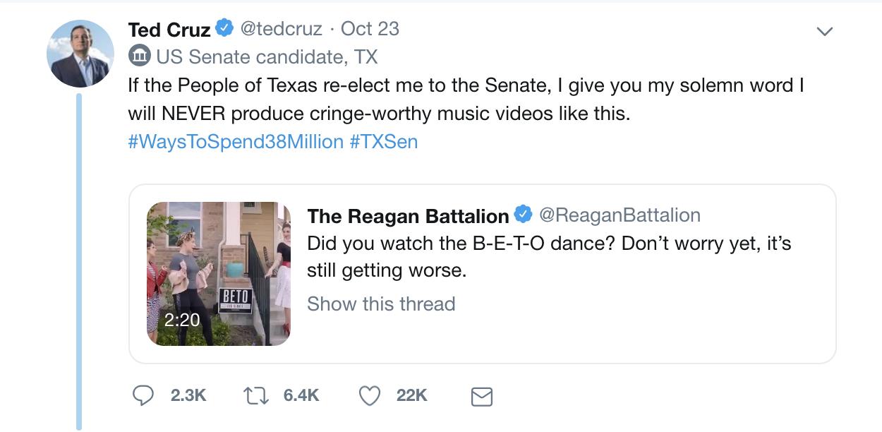 Ted Cruz Twitter Post on Originator Studios Betomaniac Video.png
