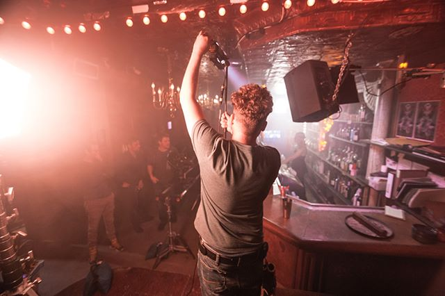 Dreamy lighting on set.