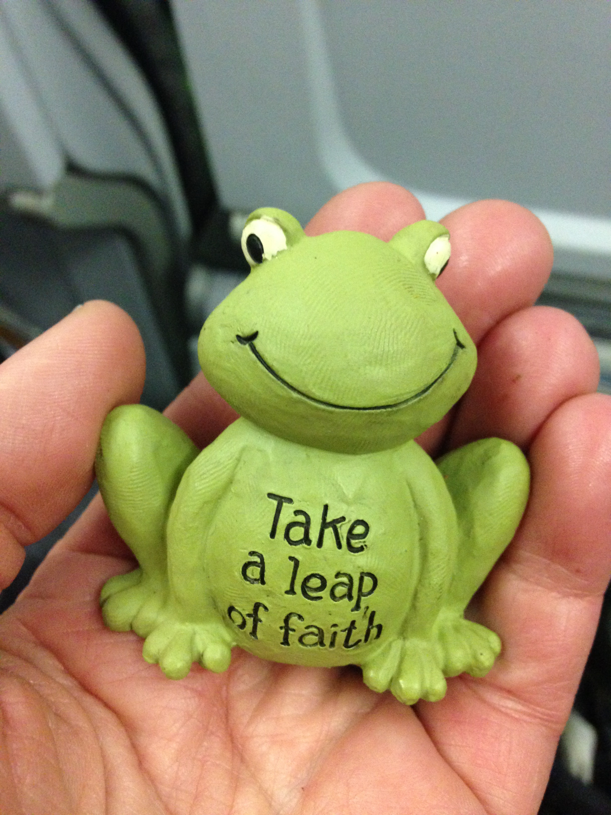 I held this little frog in my hand while flying overseas.
