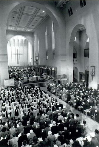 Interior with choir in crescent arrangement at Bishop Norman's consecration in 1973.  Evening Post.