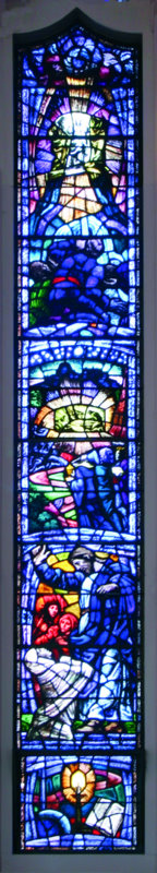 The first window on the left shows the birth of Jesus - the manger scene with the three wise men (middle); in the pane below we find Jesus in his ministry.