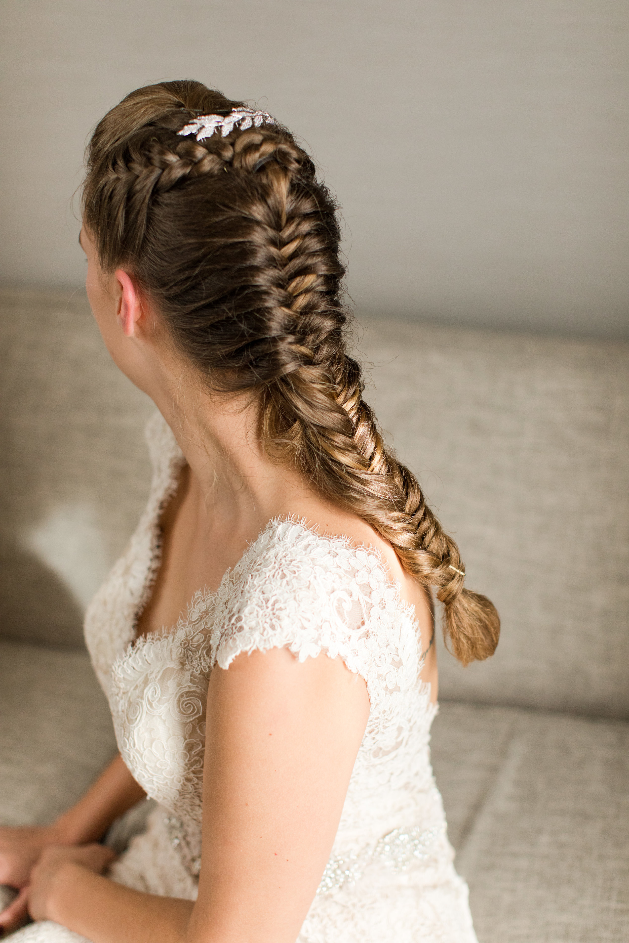 braided bridal hair with laurel comb