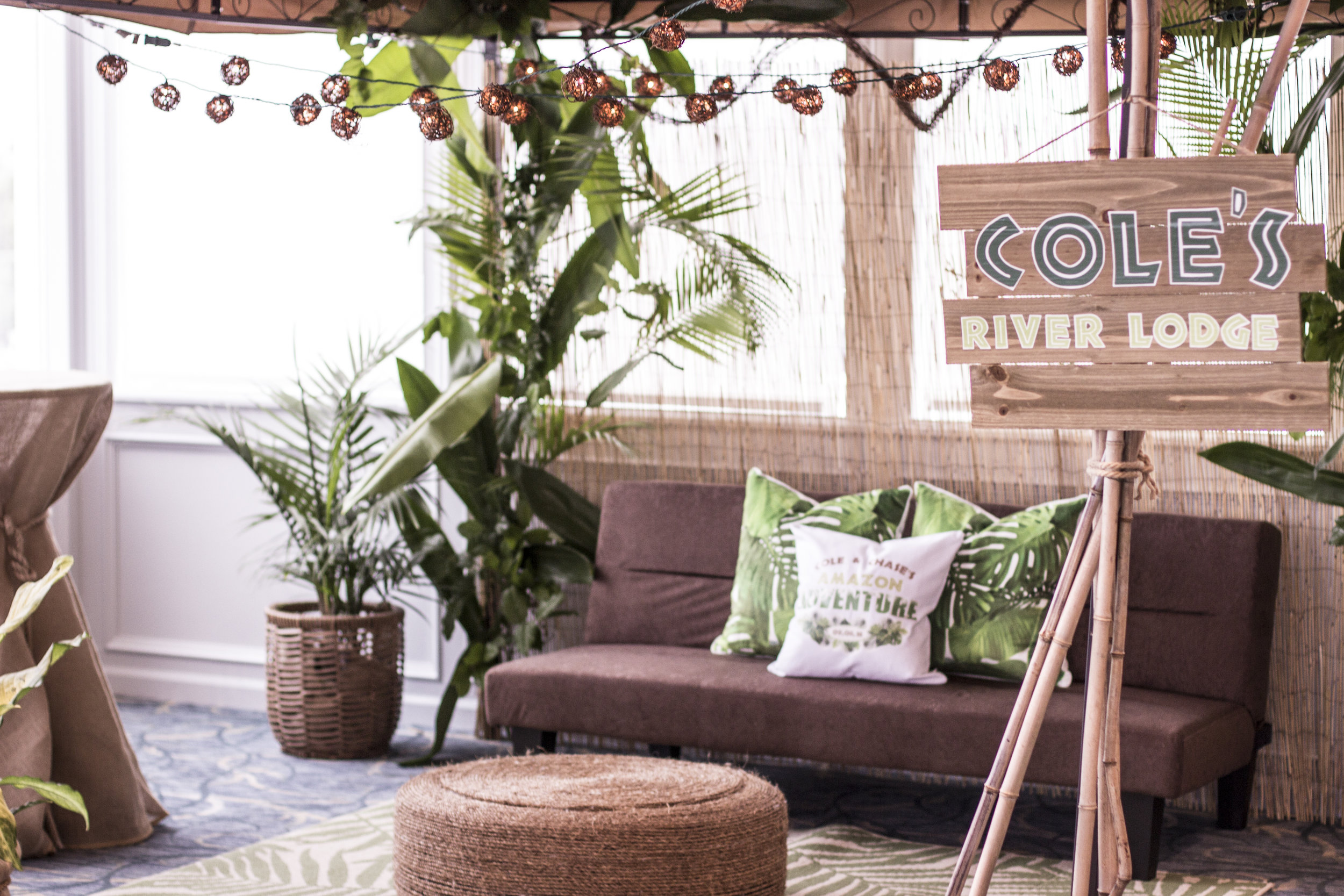 Amazon Jungle B'Nai Mitzvah Cabana Lounge with Rope Ottoman and Live Greens at Channel Club by Magnolia West