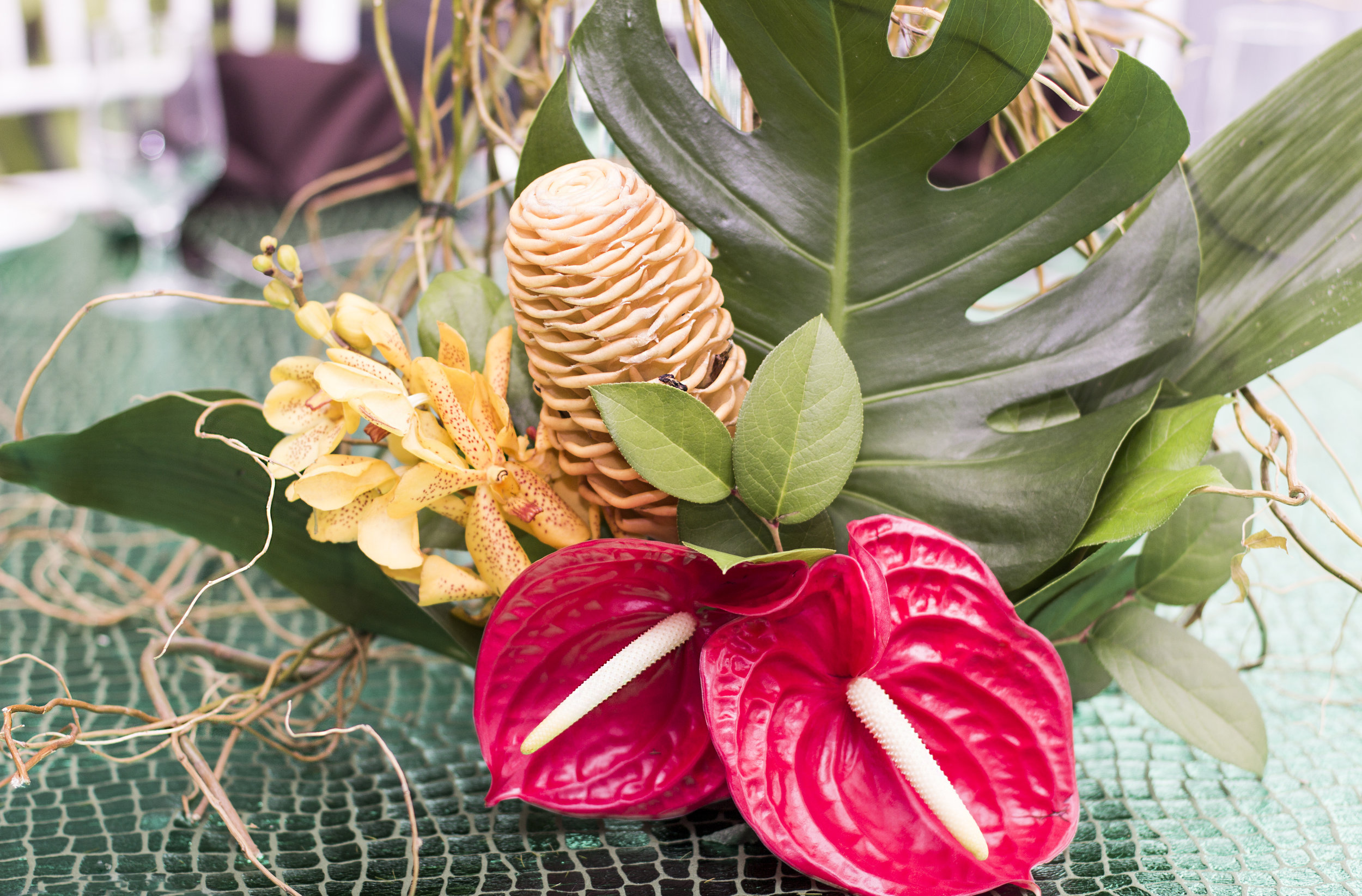 tropical floral centerpiece for amazon jungle themed mitzvah