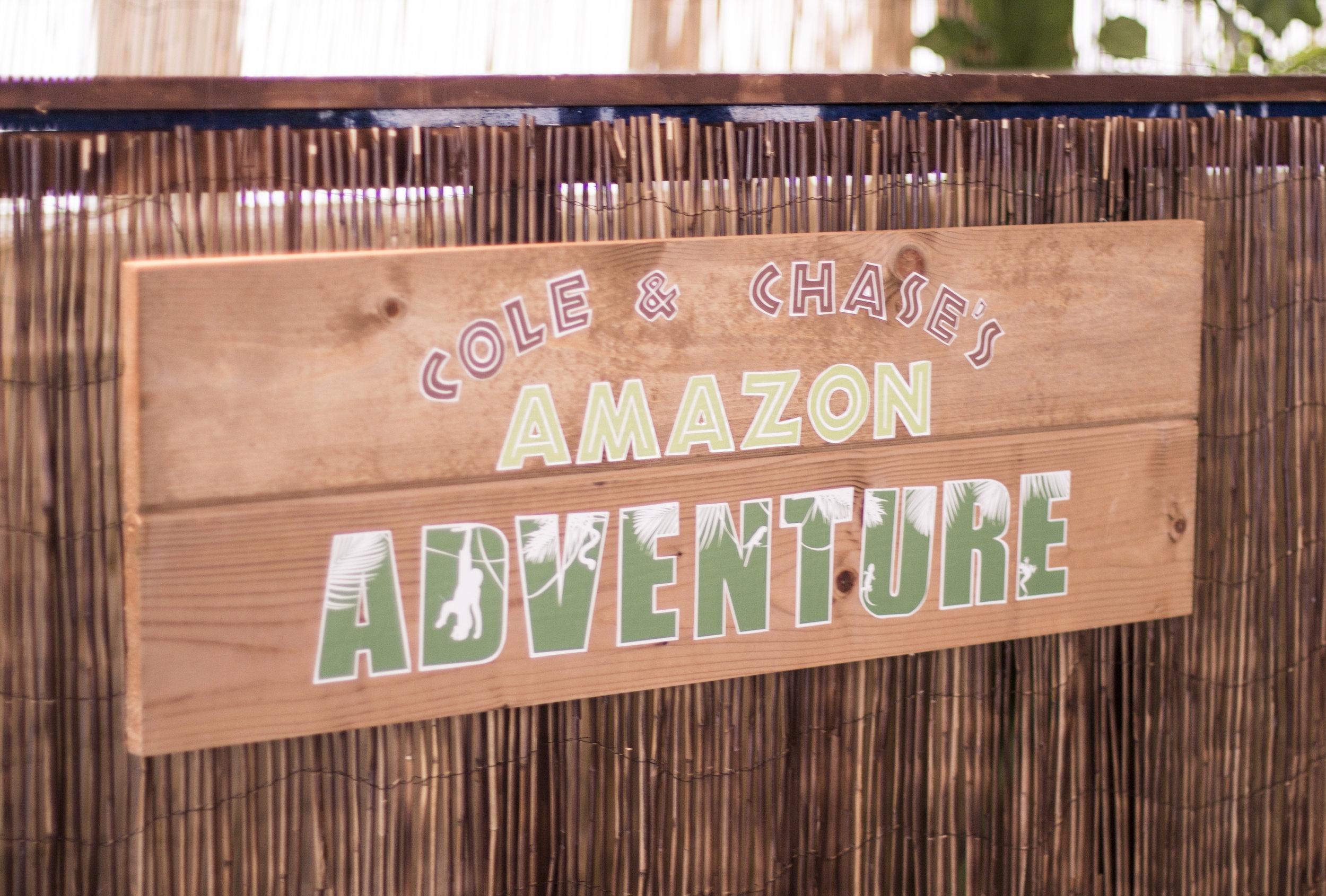 rustic bar sign on custom jungle bar for amazon jungle themed mitzvah