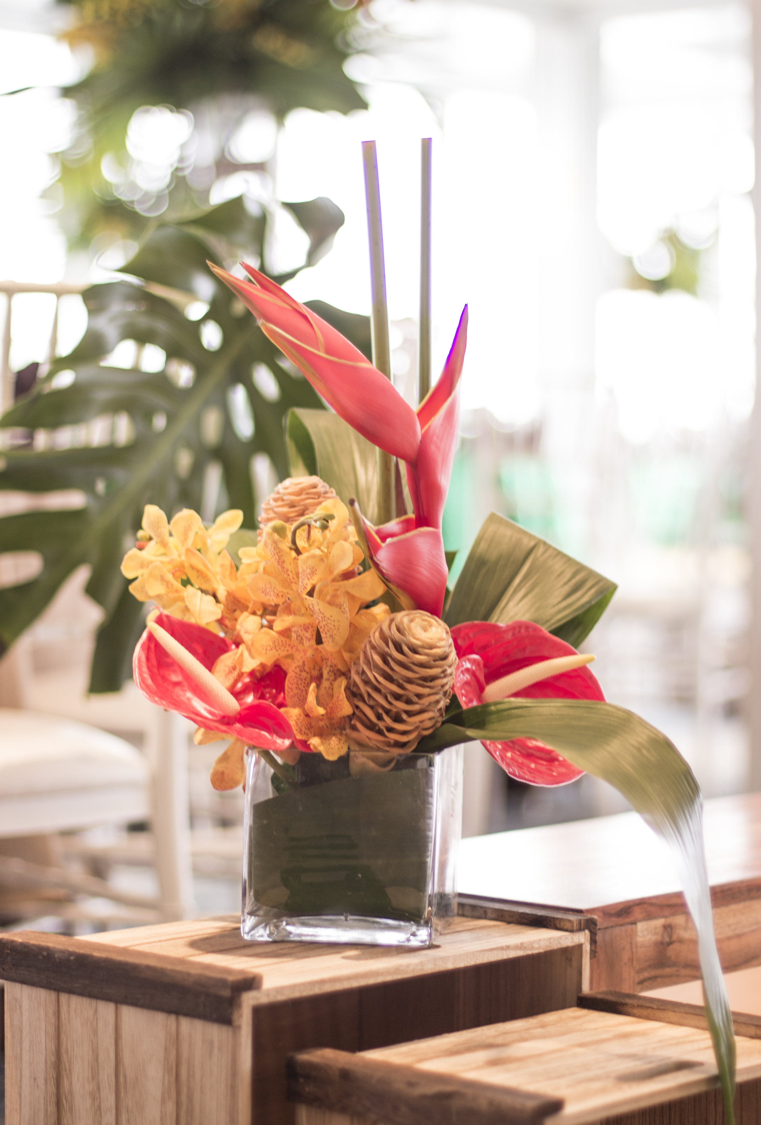tropical centerpiece for amazon jungle themed mitzvah