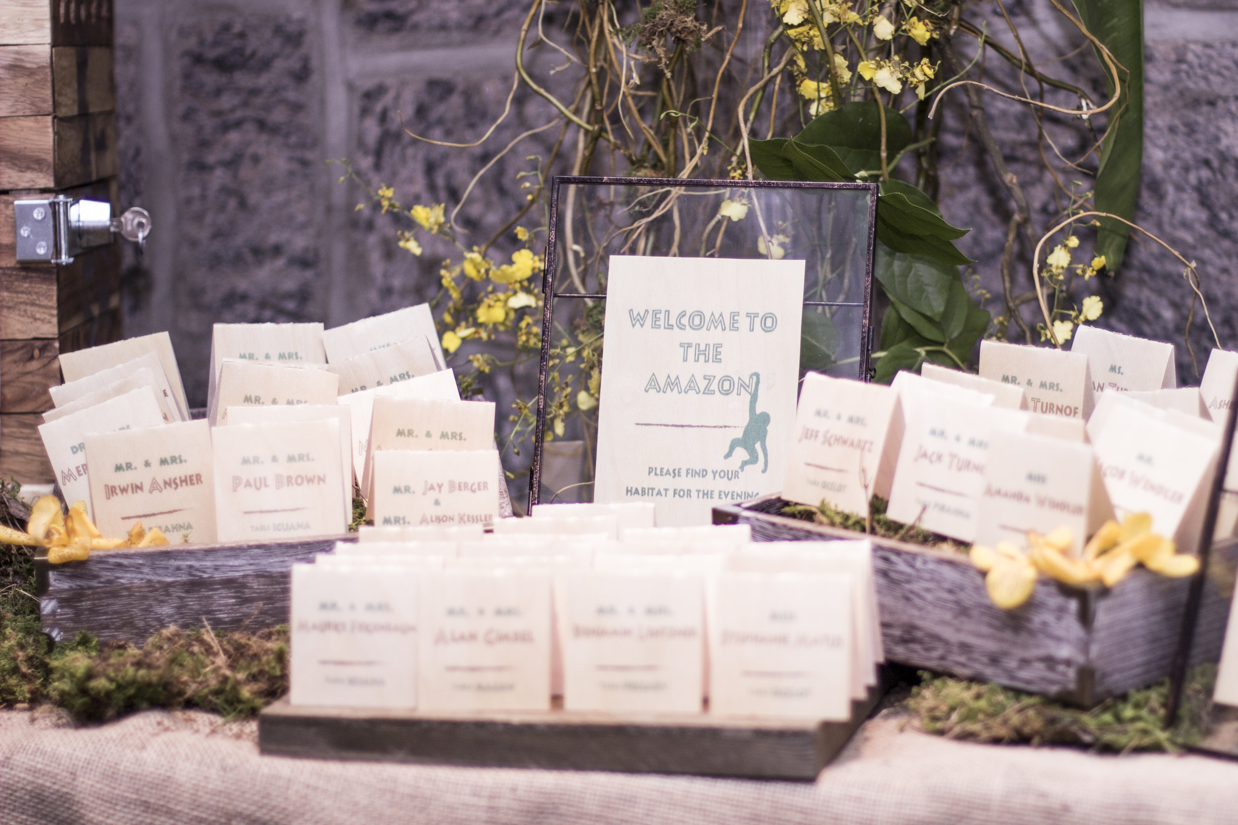 real wood placecards for jungle themed mitzvah at channel club