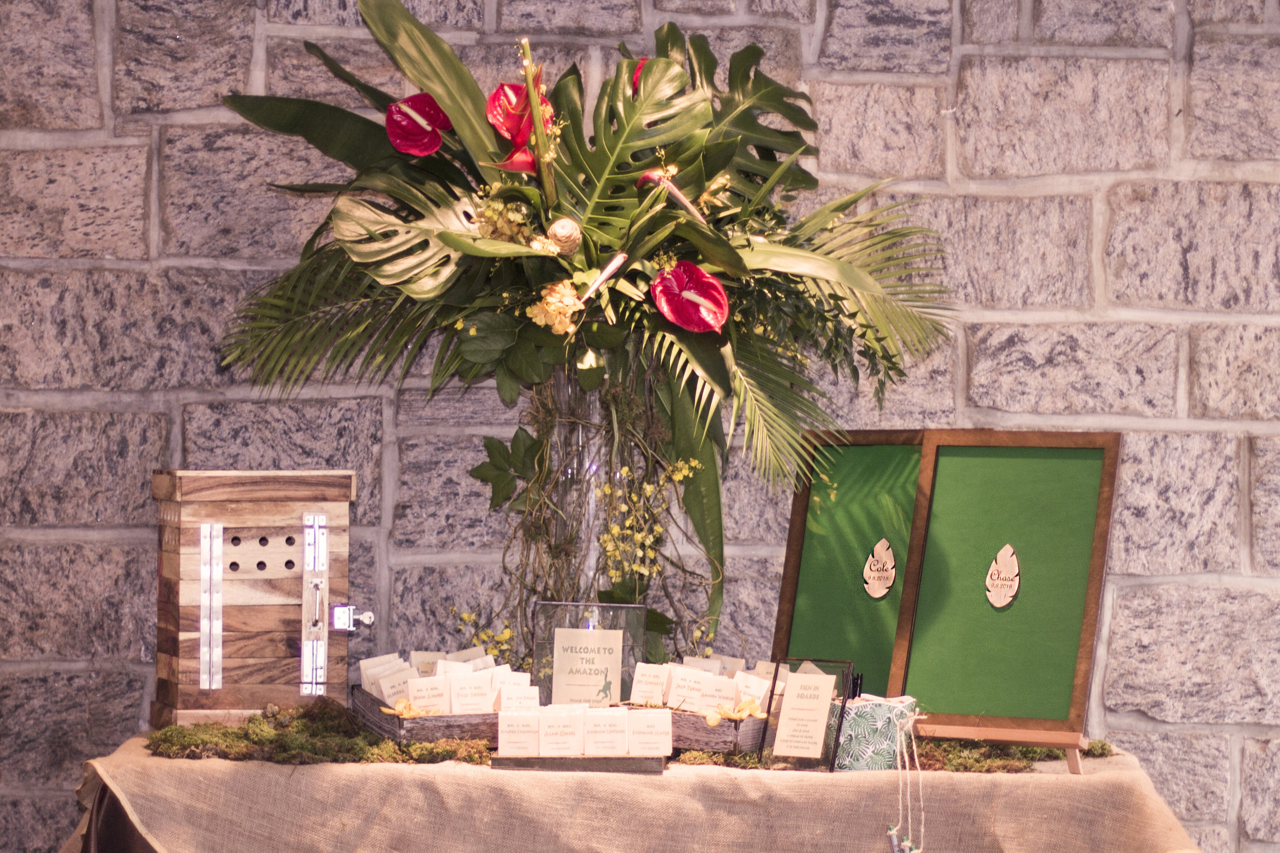jungle themed mitzvah custom card box tropical arrangement real wood placecard and drop in leaf sign in boards