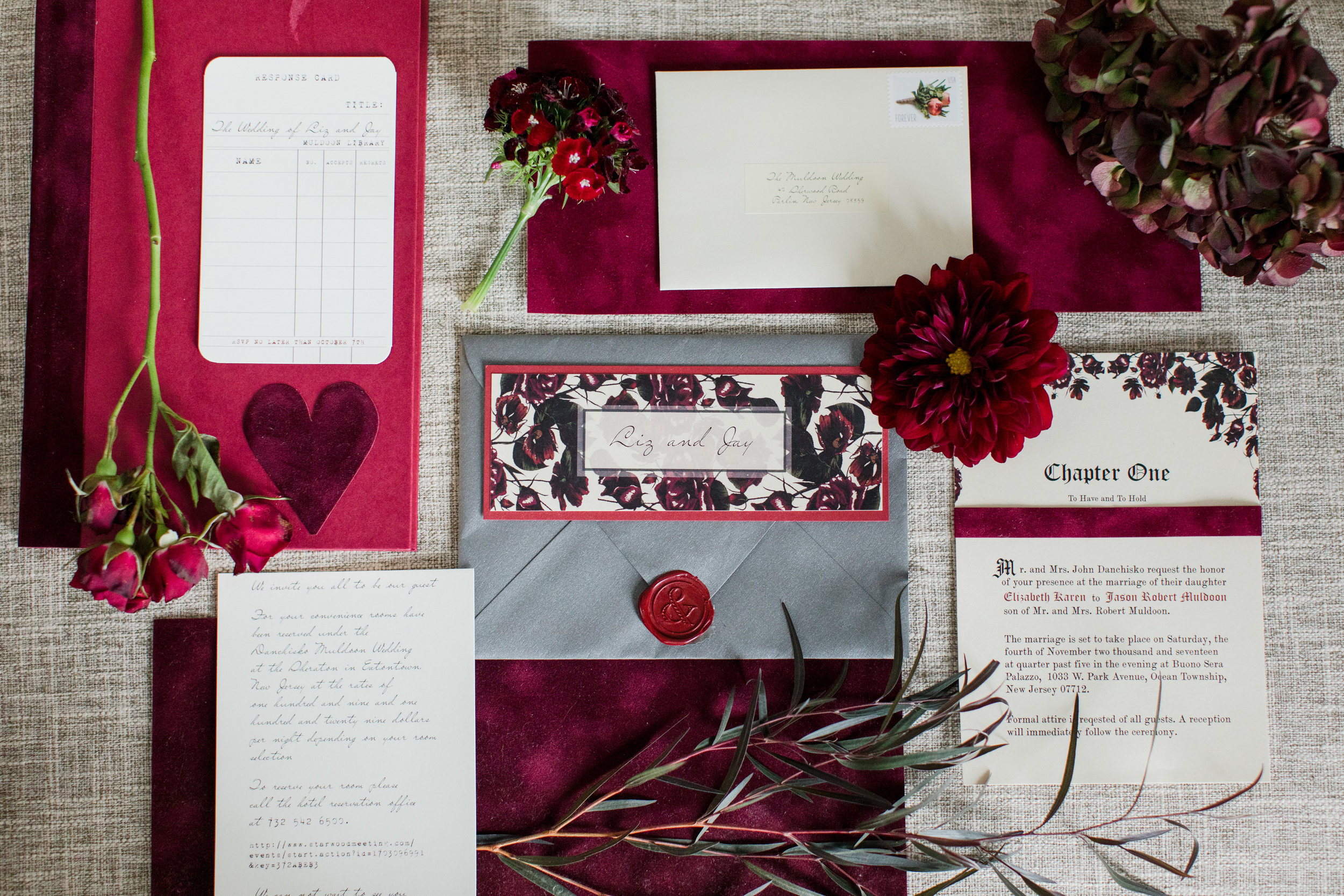Library book page wedding invitation suite