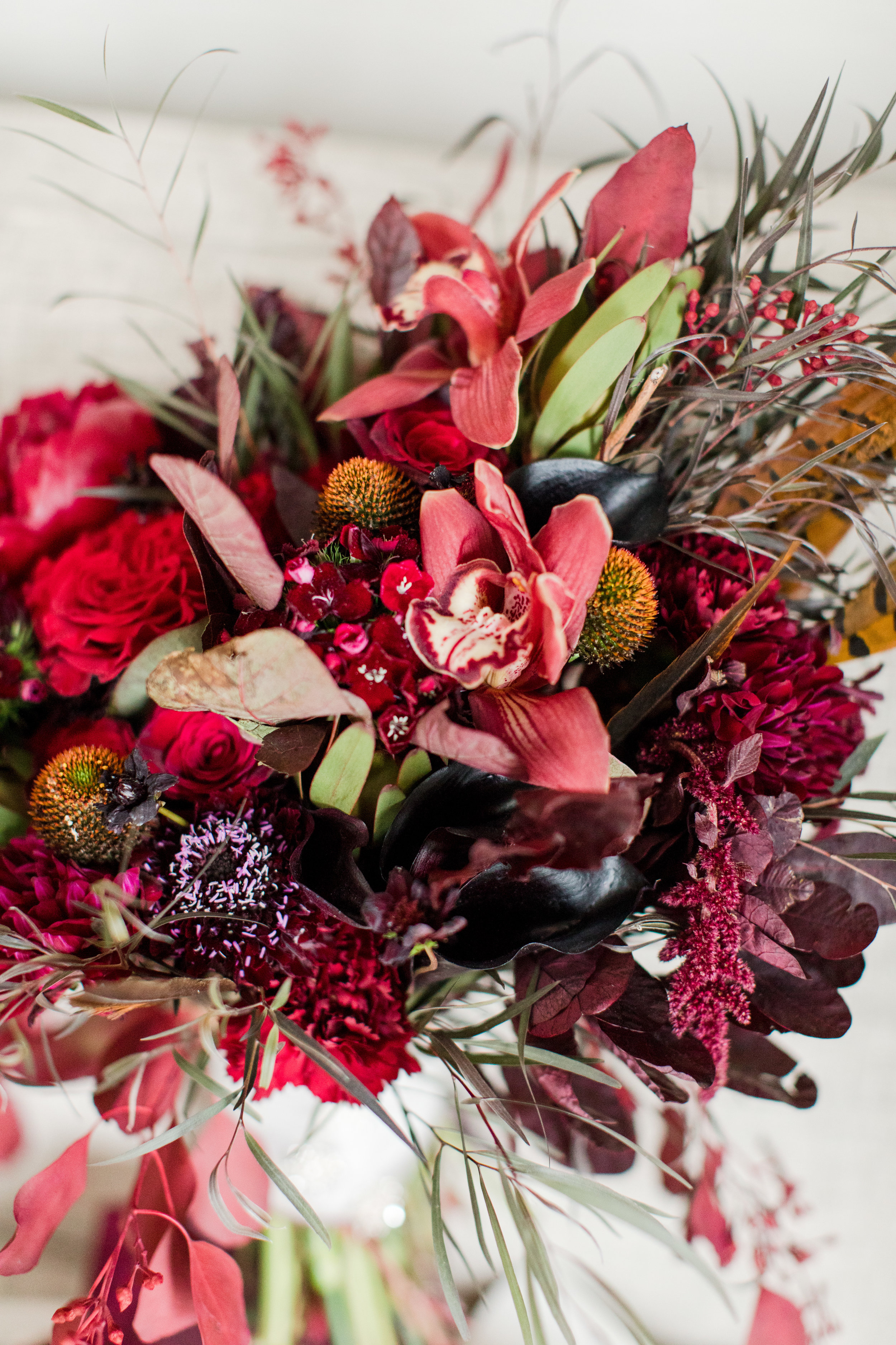 dark red moody fall bouquet with feathers