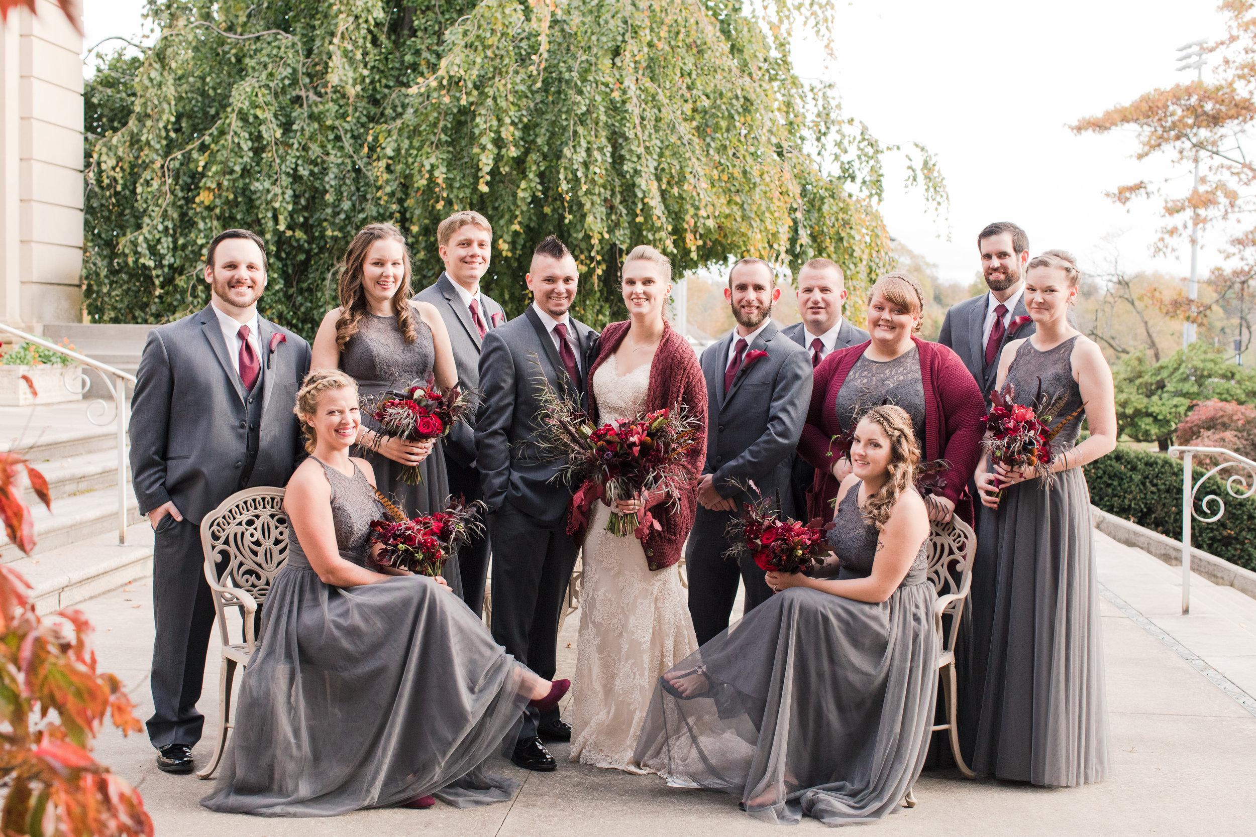 Formal fall bridal party photo at Monmouth University