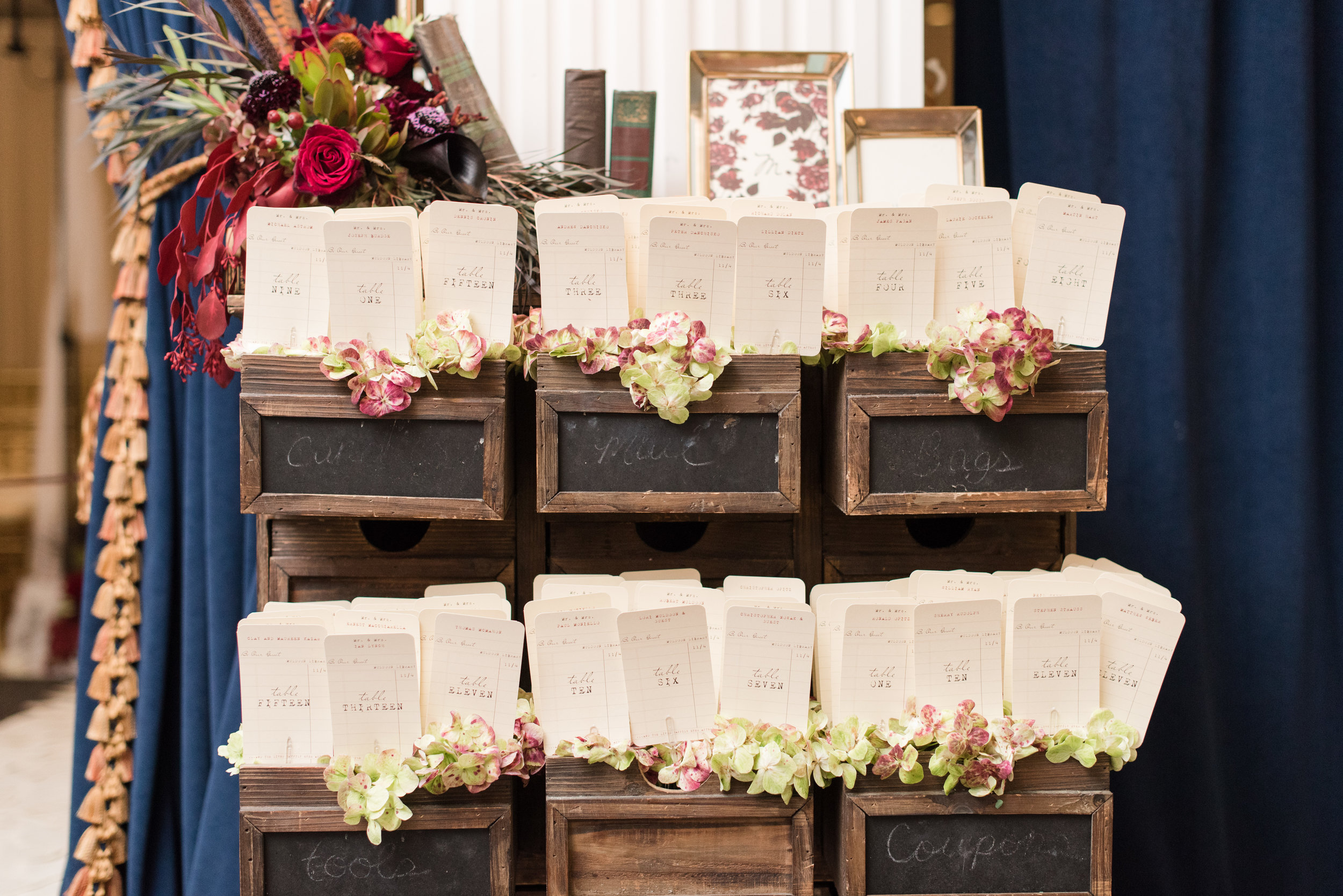 Library card placecards for fall library inspired wedding at Buona Sera Palazzo