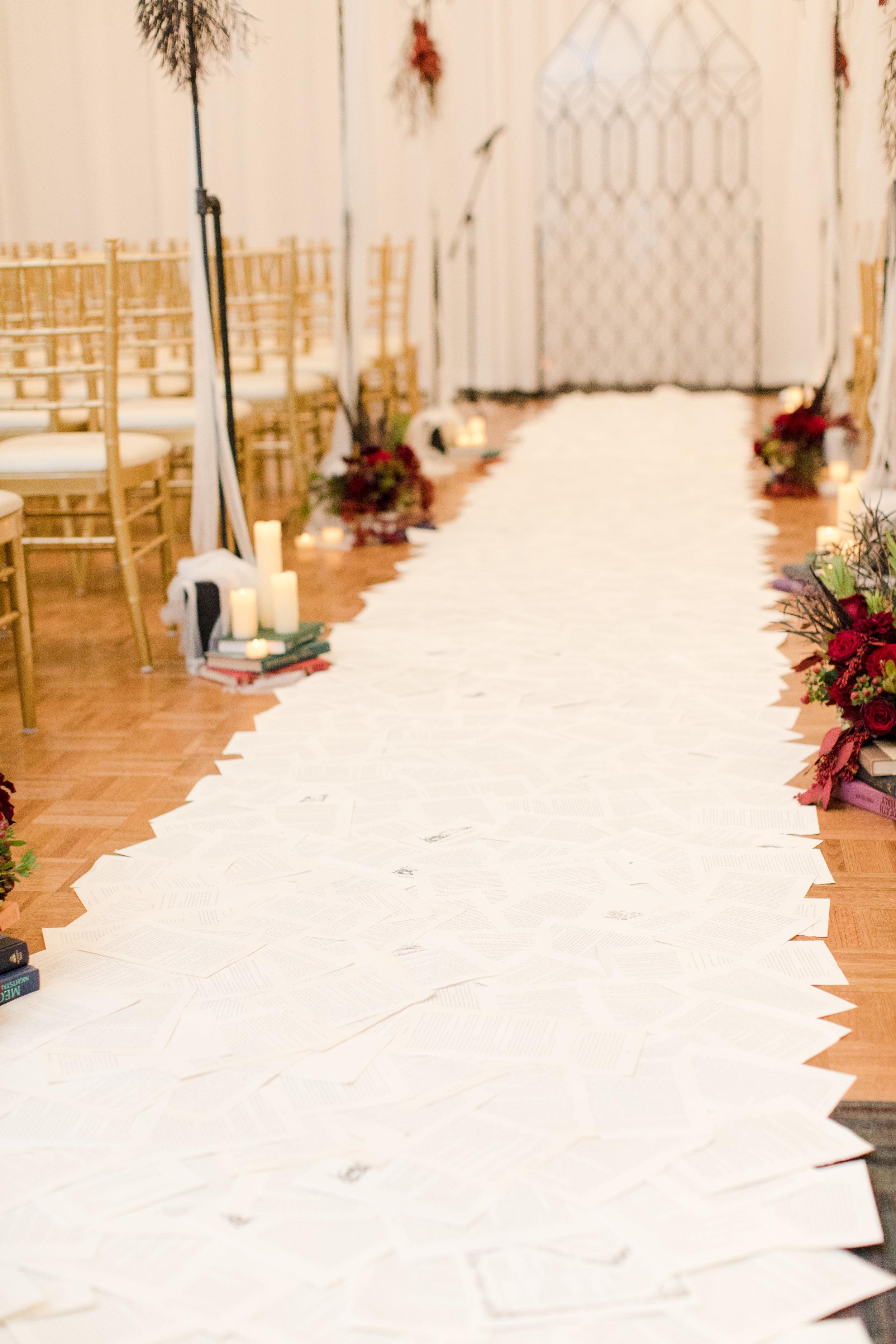 Book page aisle runner for library inspired wedding at Buona Sera Palazzo
