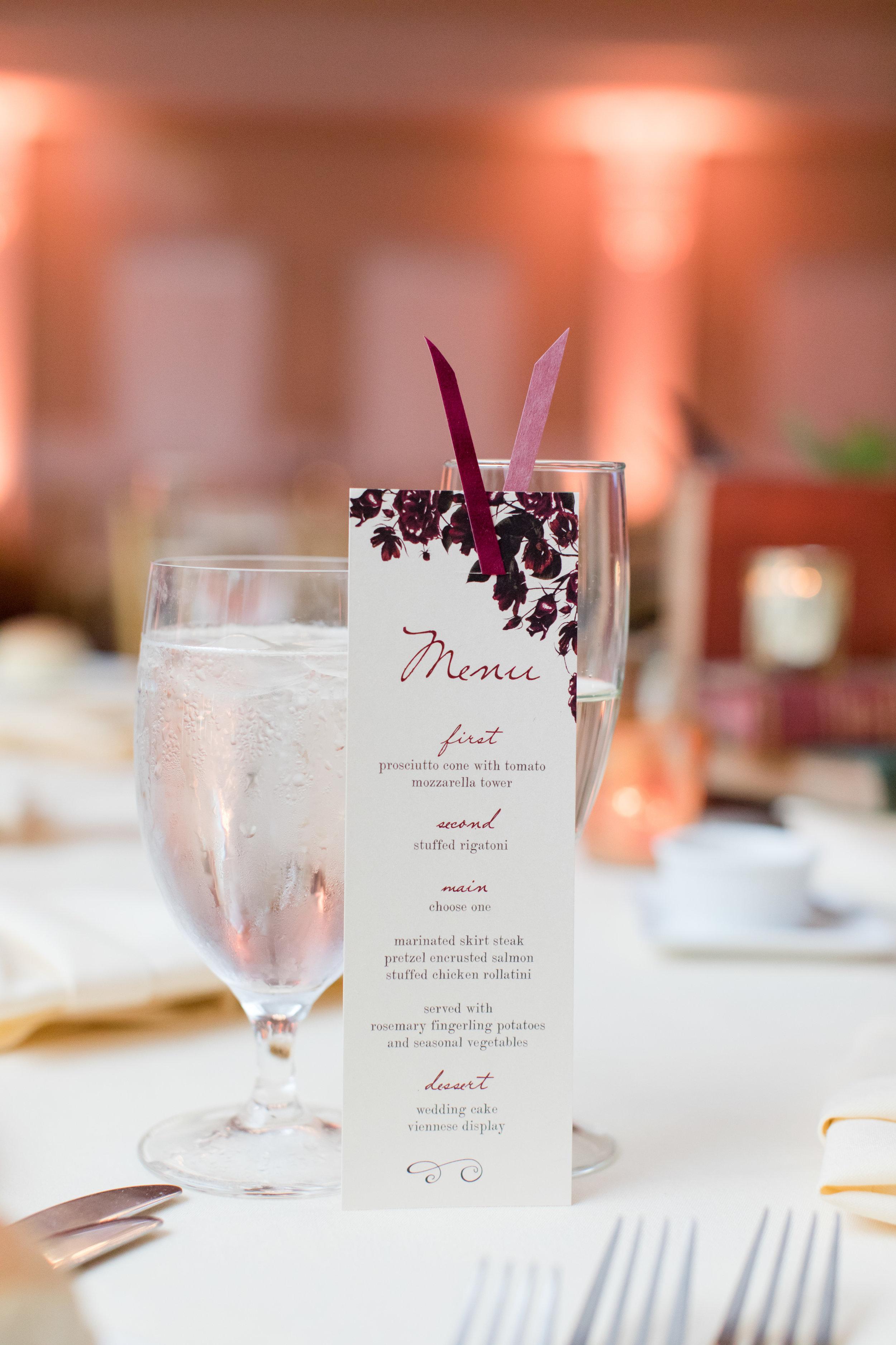 bookmark wedding menu at library inspired fall wedding