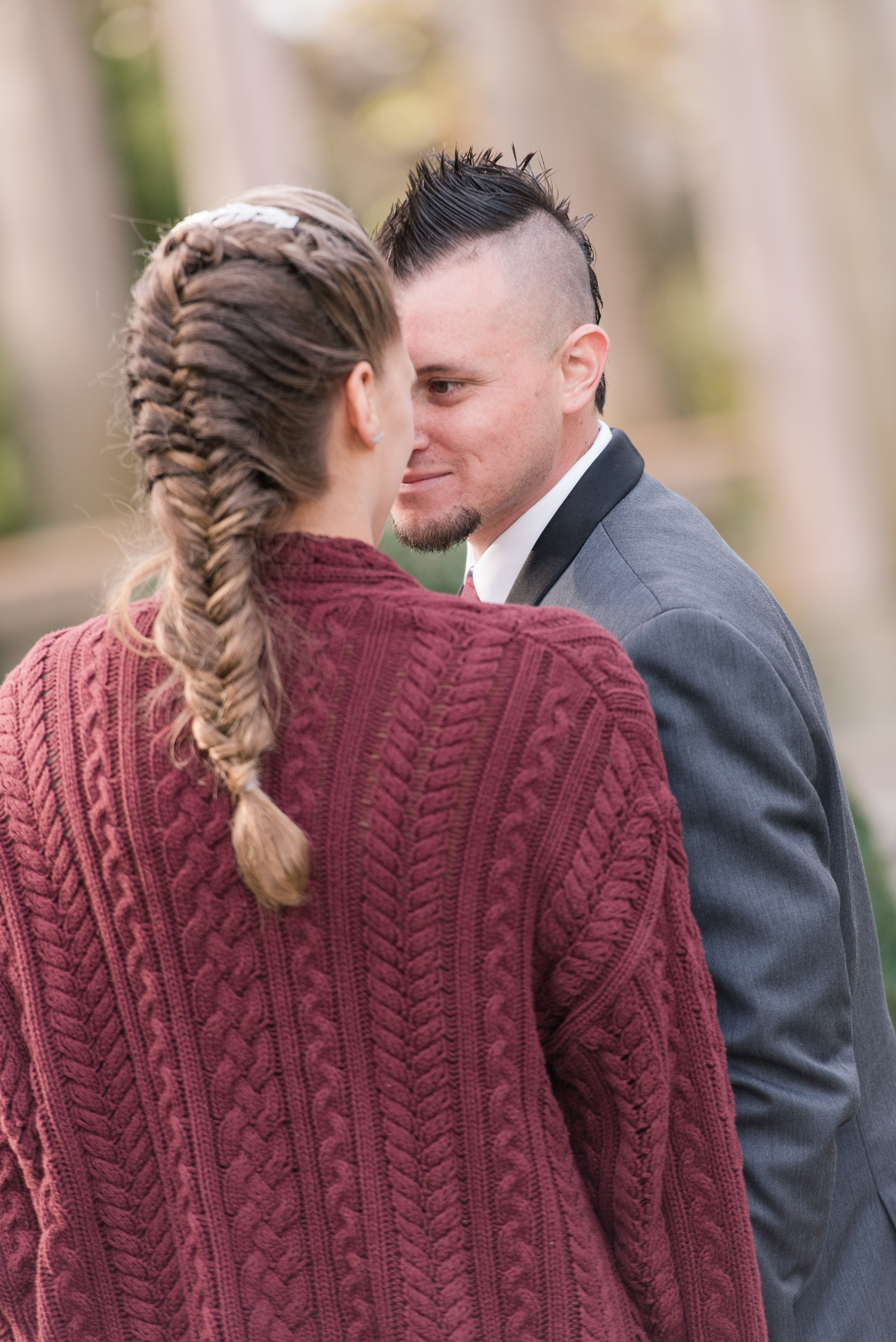 bride in chunky knit sweater at fall nj wedding