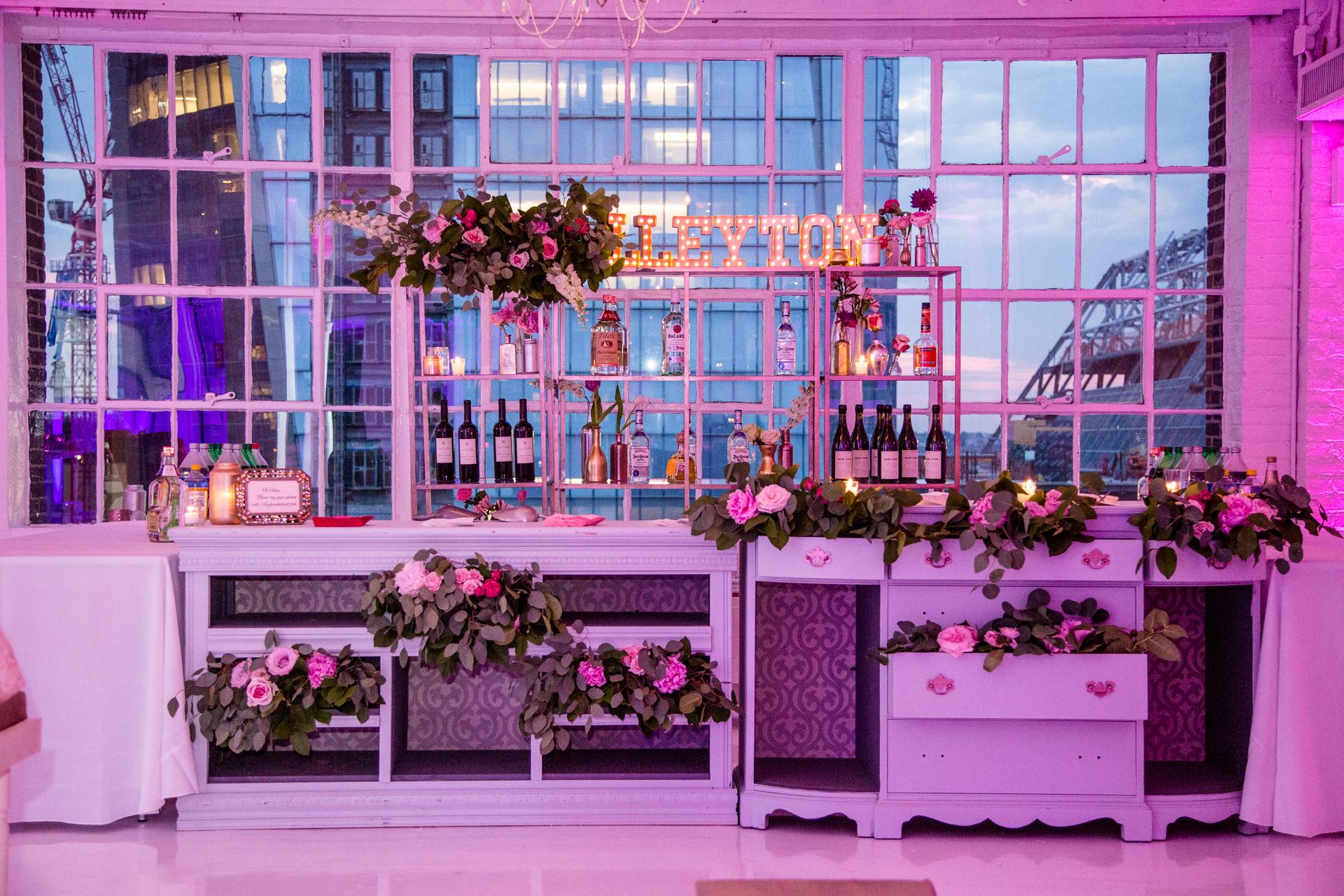 custom vintage bat mitzvah bar and floral design