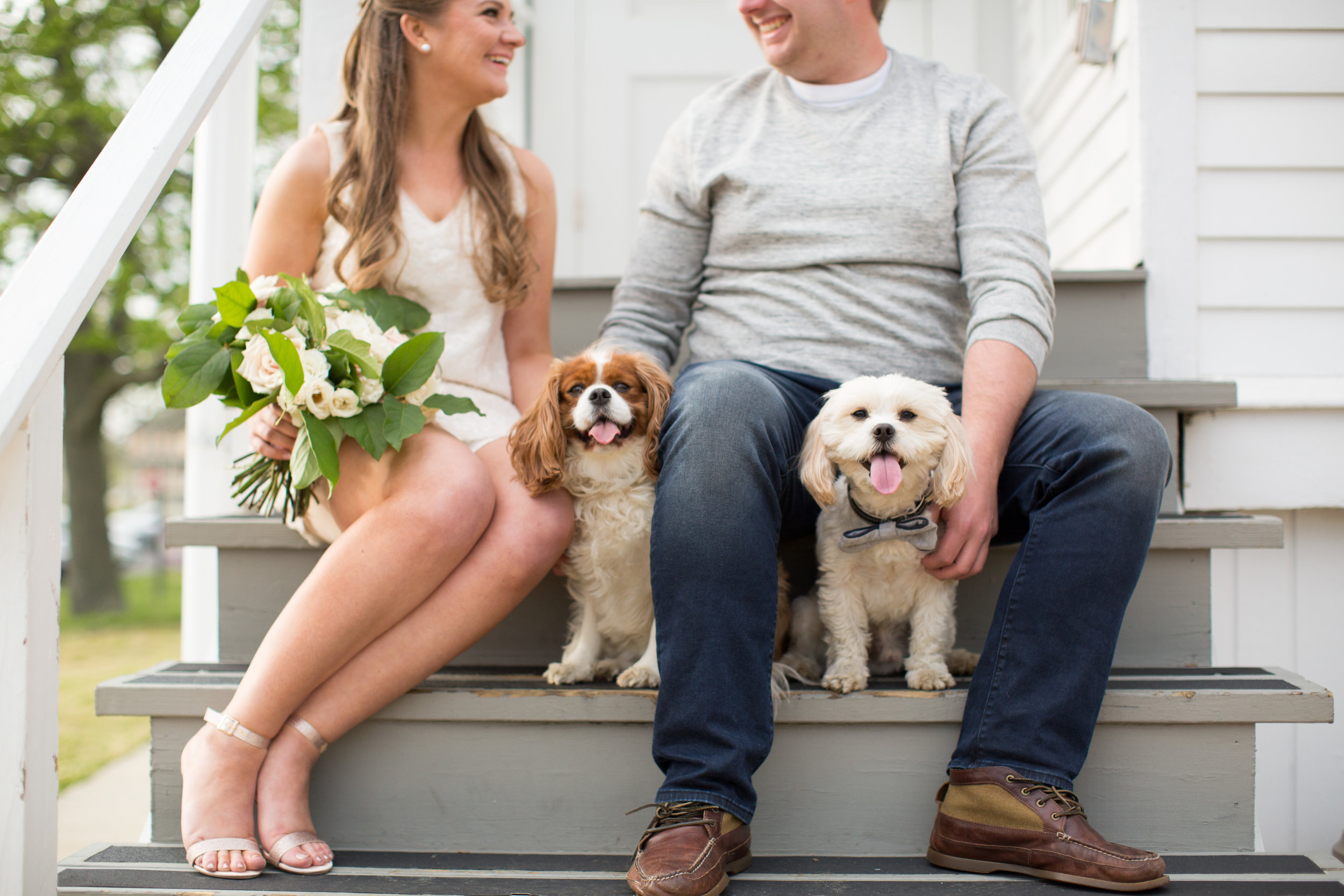 Sandy Hook New Jersey Beach Engagement Session with Magnolia West and Jaye Kogut Photography at Light House with Dogs