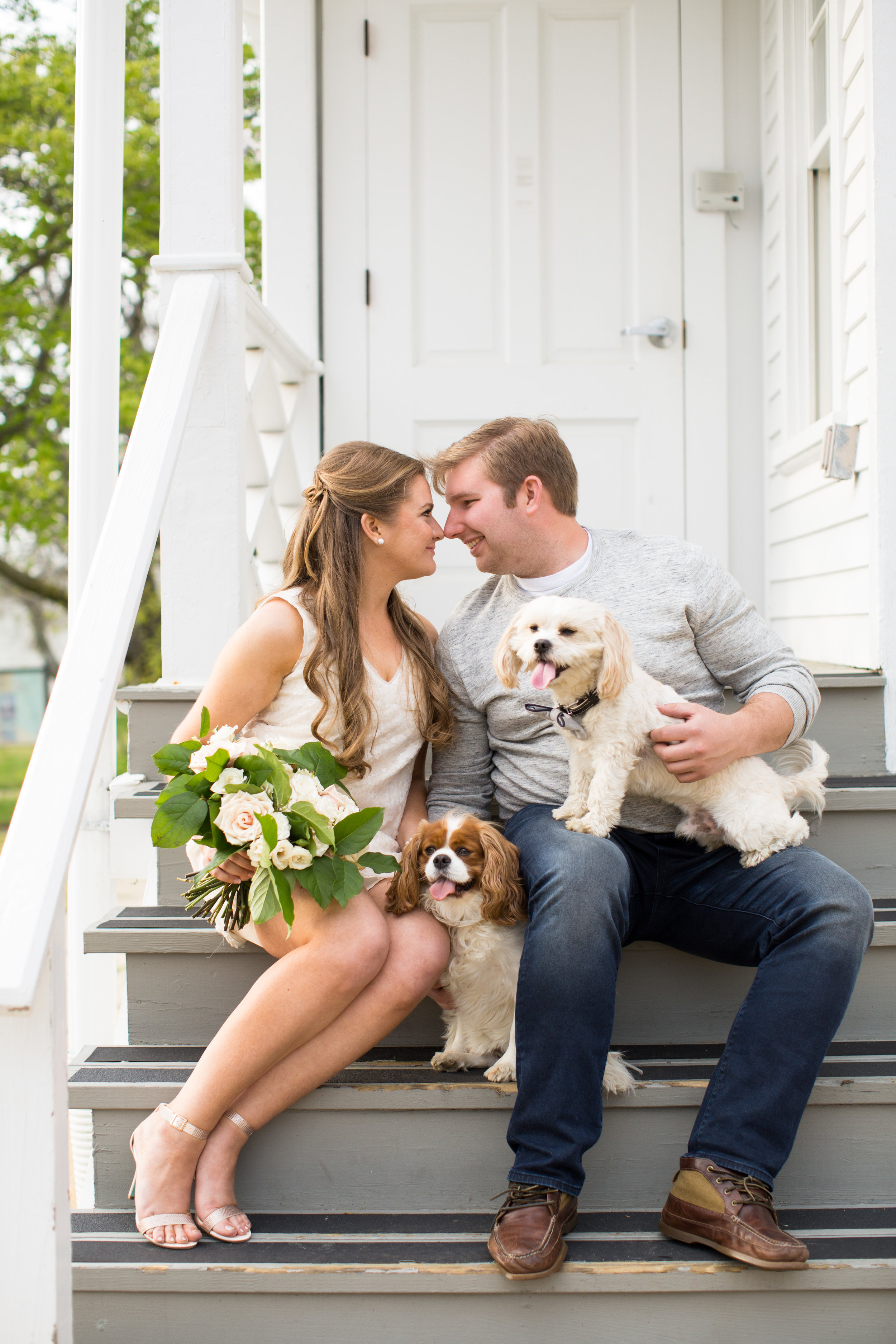 Sandy Hook New Jersey Beach Engagement Session with Magnolia West Events and Jaye Kogut Photography at Light House with Dogs