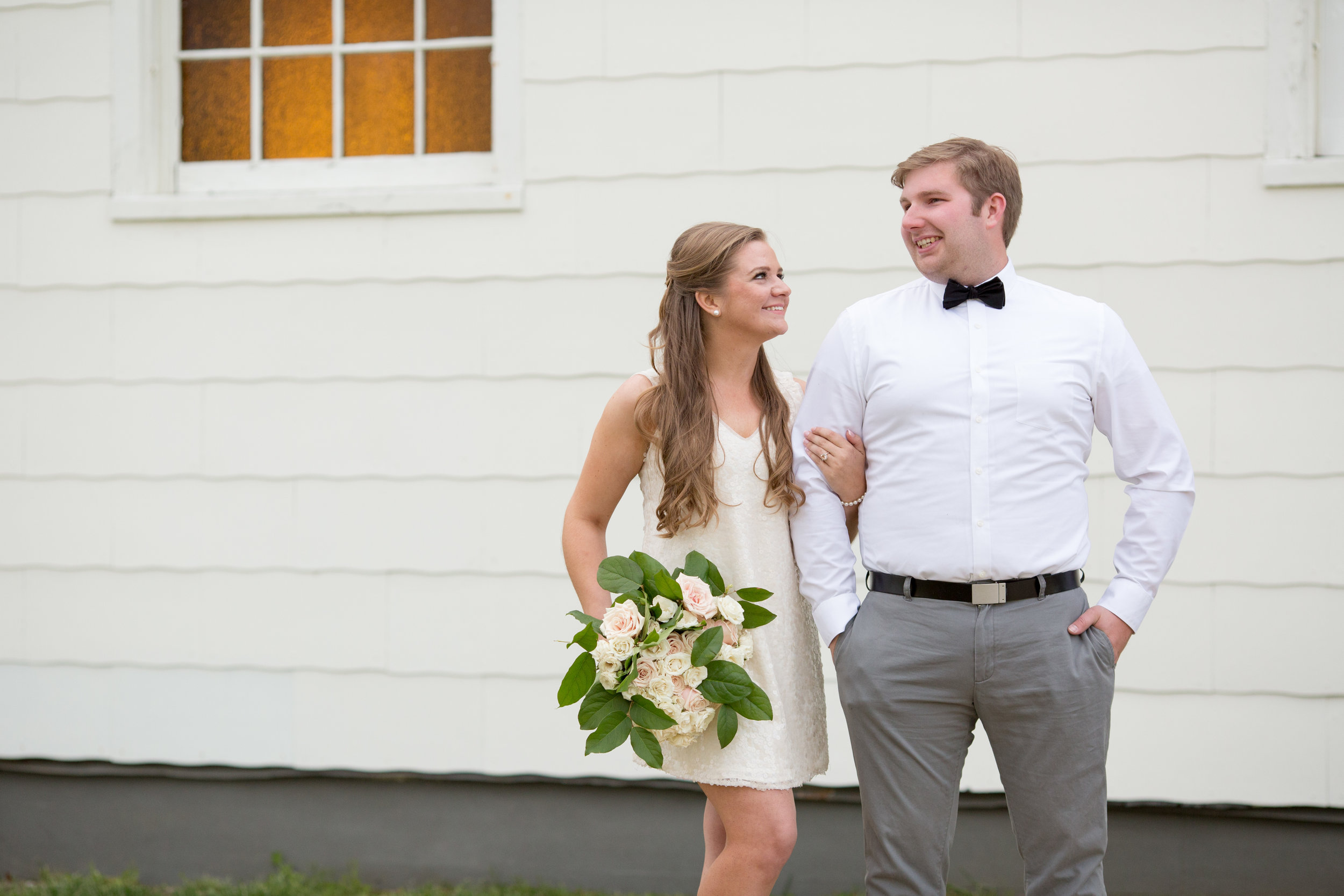 Sandy Hook New Jersey Beach Engagement Session with Magnolia West Events and Jaye Kogut Photography at Chapel with Bouquet and Bow Tie