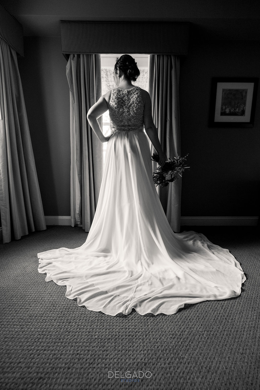 flowy maggie sottero wedding dress with beading american hotel wedding