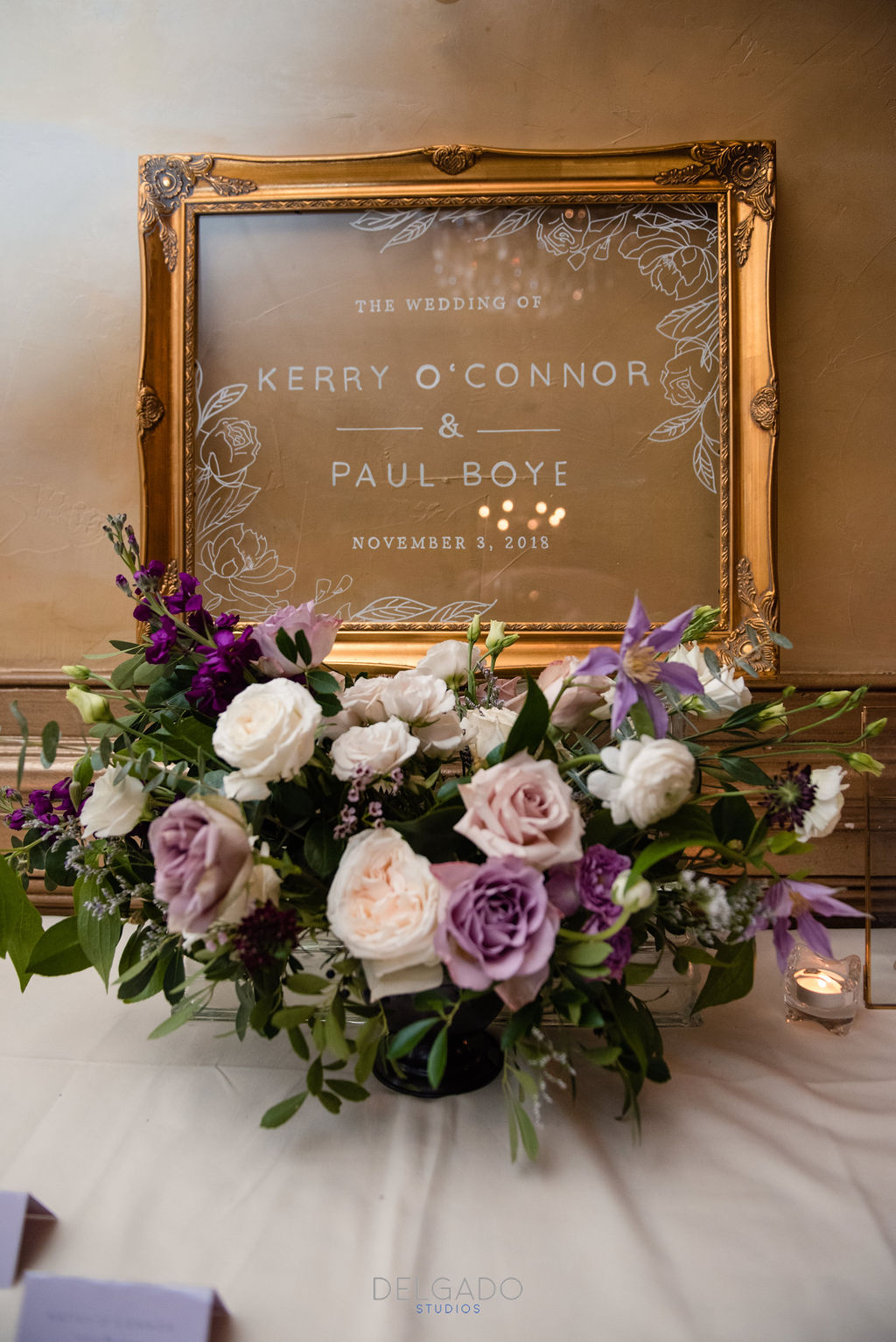modern traditional wedding welcome sign romantic fall flowers