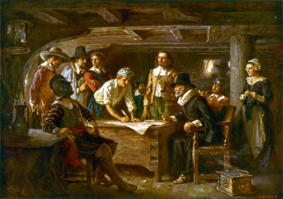 Signing the Mayflower Compact 1620  (Jean Leon Gerome Ferris, c. 1899)