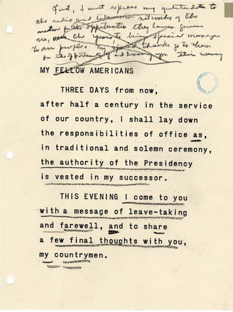Edited text of Eisenhower's farewell address