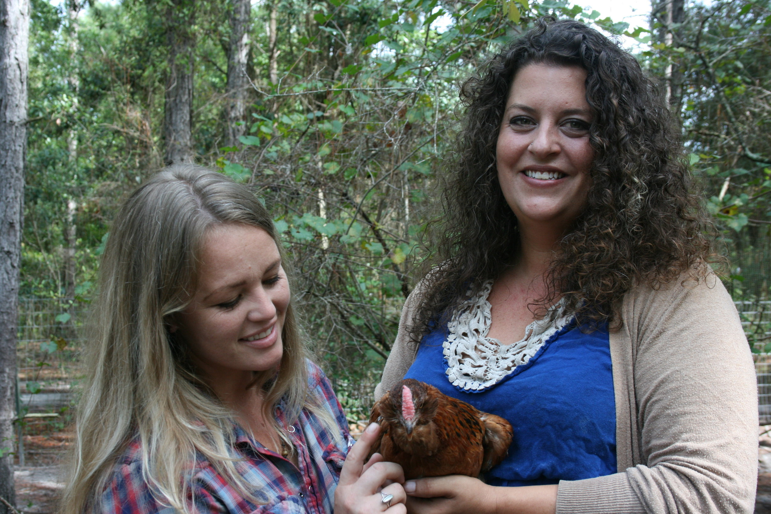 Goat farmers and chicken keepers extraordinaire, Jennifer Evitts and Swan Rubins of the Hairy Farmpit Girls.