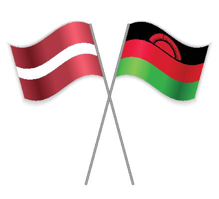 Latvia and Malawi Flags