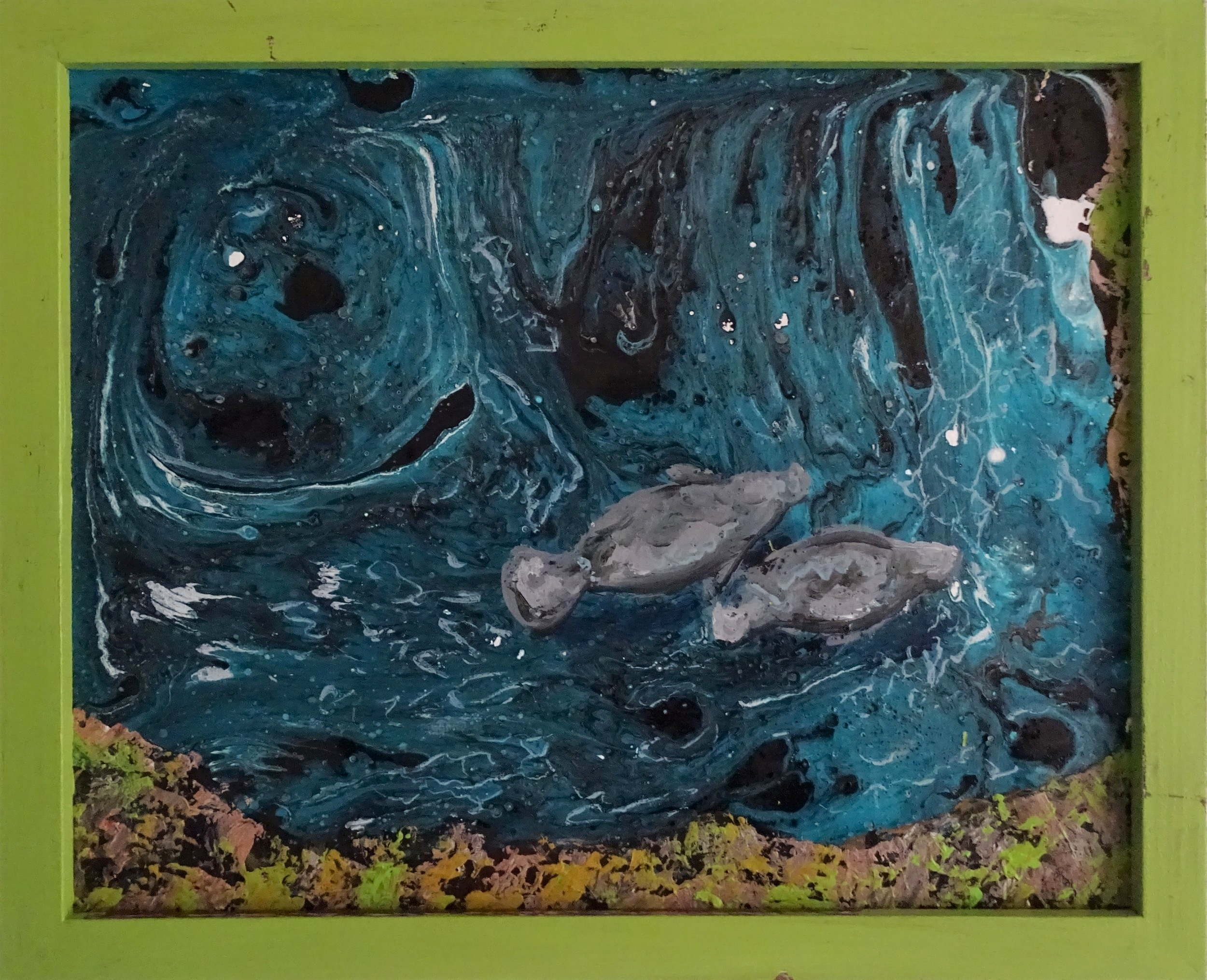 """Manatee Springs""  Acrylic pour and acrylic on canvas panel"