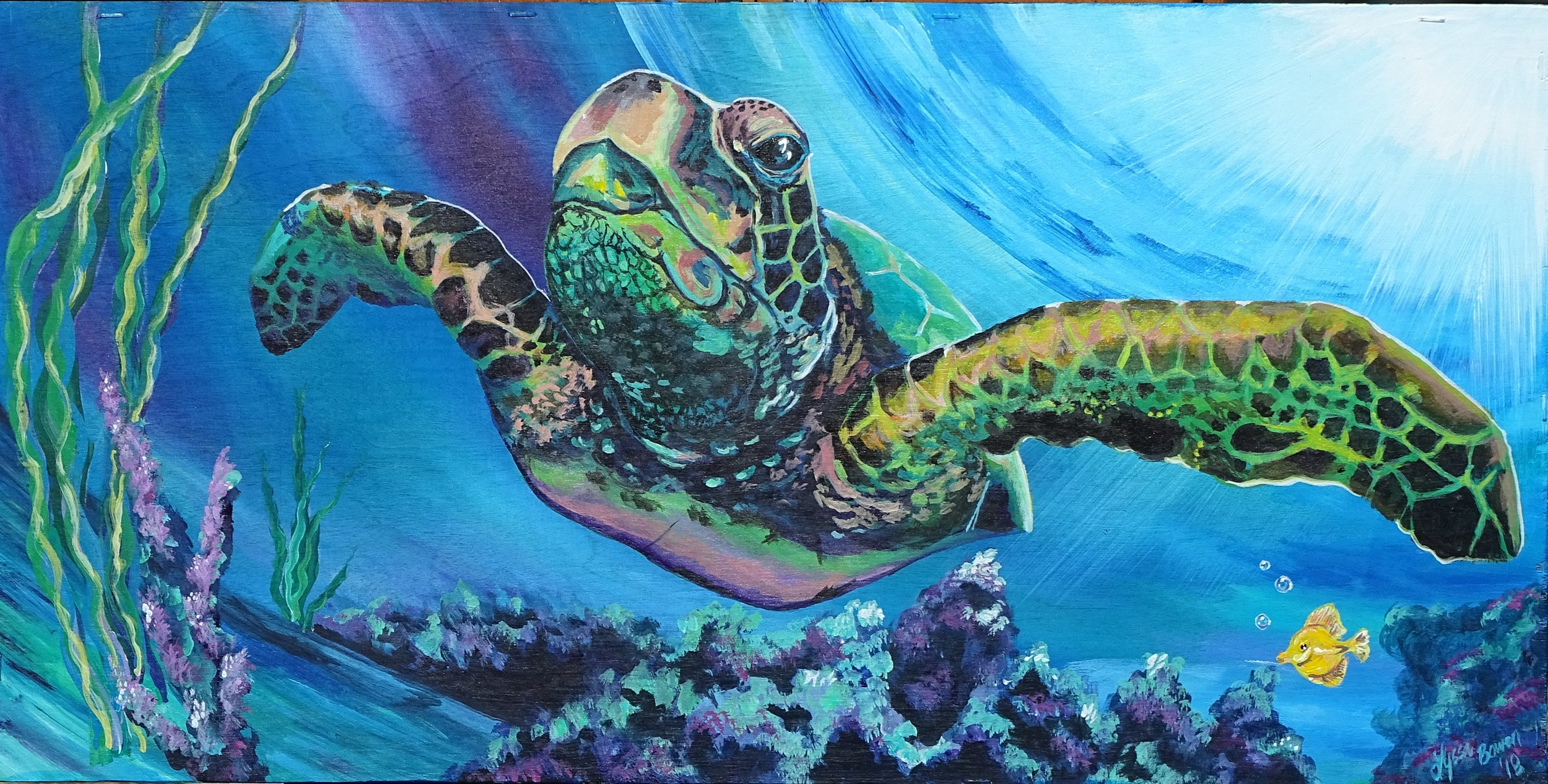 """Sea Turtle"" Acrylic on wood with a resin finish"
