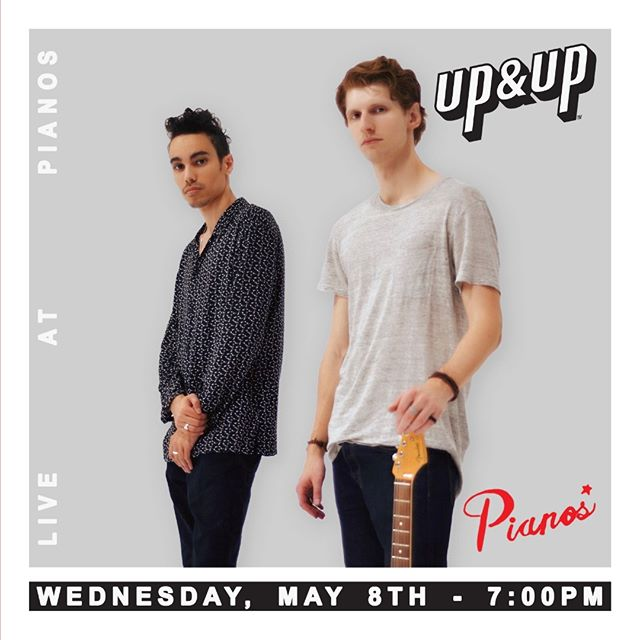 This Wednesday, May 8th, 7pm live at Pianos! Come rock with us 🤘 21+ | No drink minimum Doors: 6:30 PM | Show: 7:00 PM General Admission: $10  For Tickets & more info: www.upandupofficial.com/shows