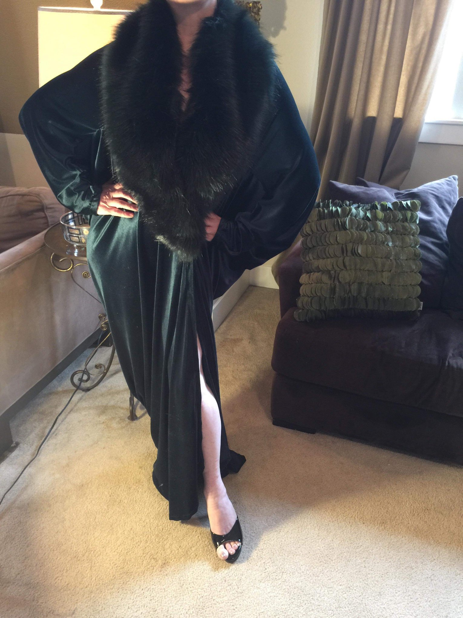 Velvet and (Faux) Fur 1920s style robe - When I saw these I almost DIED! I immediately began tracking down the woman that's making them, cause I didn't know her yet, but I KNEW I already loved her! (We're FB friends now!)