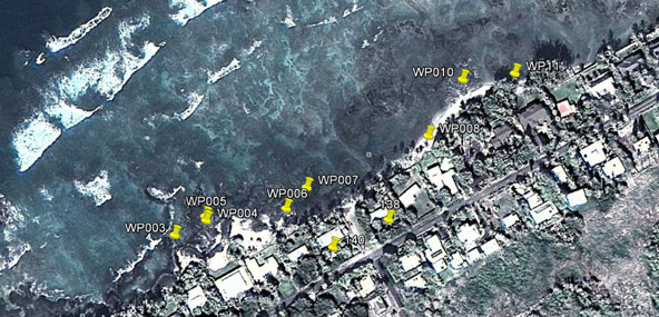 Puako Map: GPS waypoints marked to show location of observations, samples, and pictures. Circled area is reef flat where large algae patch was observed by fisherman