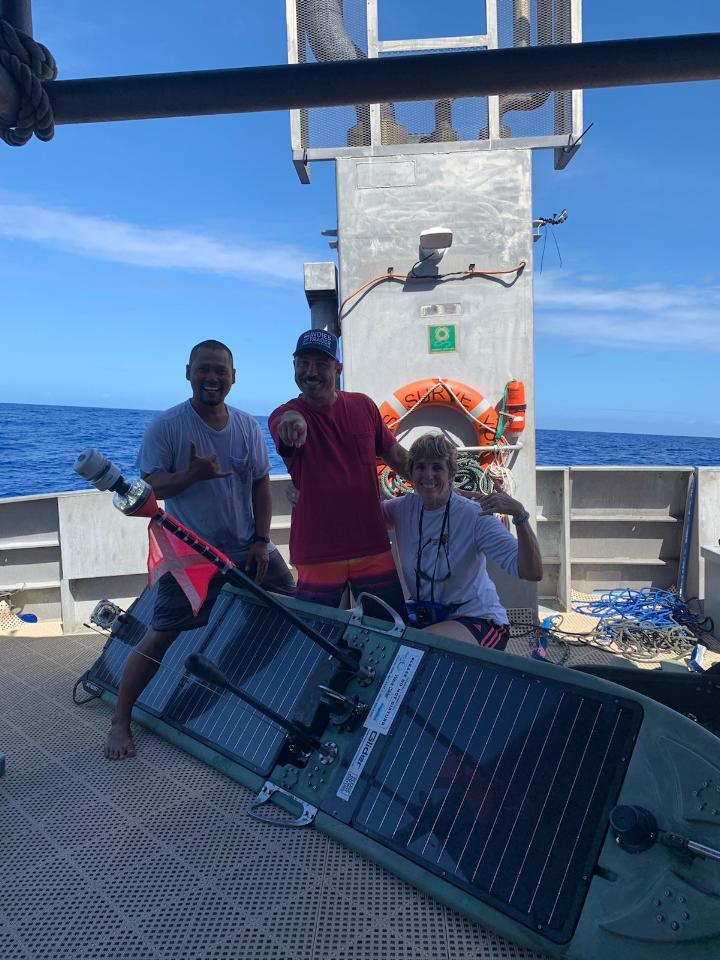 Beth and crew after successfully recovering Europa 650nm north of the Marshall Islands