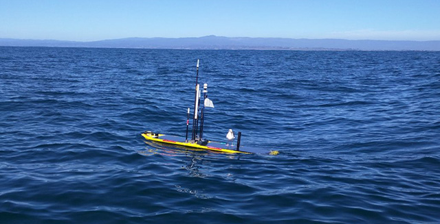 Wave Gliders can carry mobile platforms for measuring carbon dioxide in the air and in the water. Image (c) 2016 MBARI