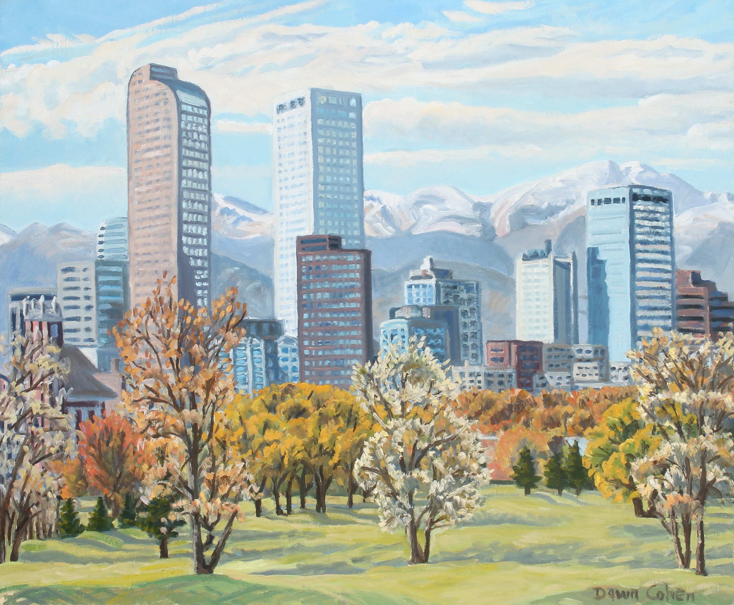 Golf Course View of Denver, 2017. Oil on canvas; 24 x 20 in.