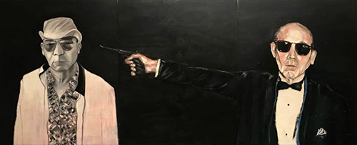 The Hunter and The Hunted - by m. Romero Triptych - oil on 38.75 x 94.5 inch wood panel