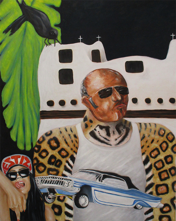 Children of the Jaguar - Oil on 39 3/4 x 31 1/2 inch panel