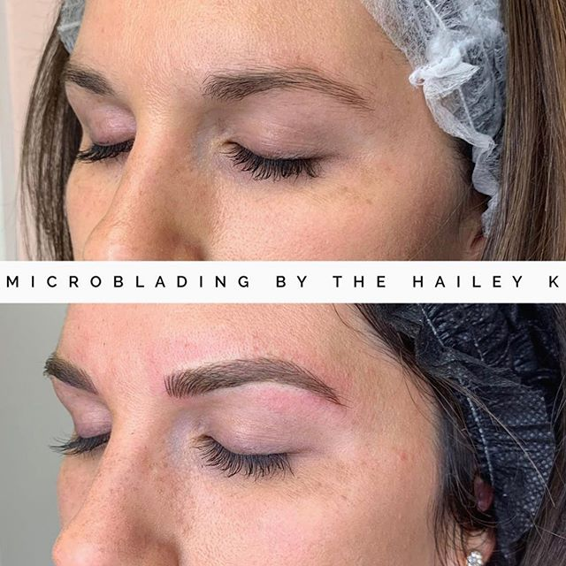 Before and after microblading by our @thehaileyk.microblading.makeup! We still have appointments for August and booking into September. Get ahold@of us and wake up with awesome brows! 👌🏼