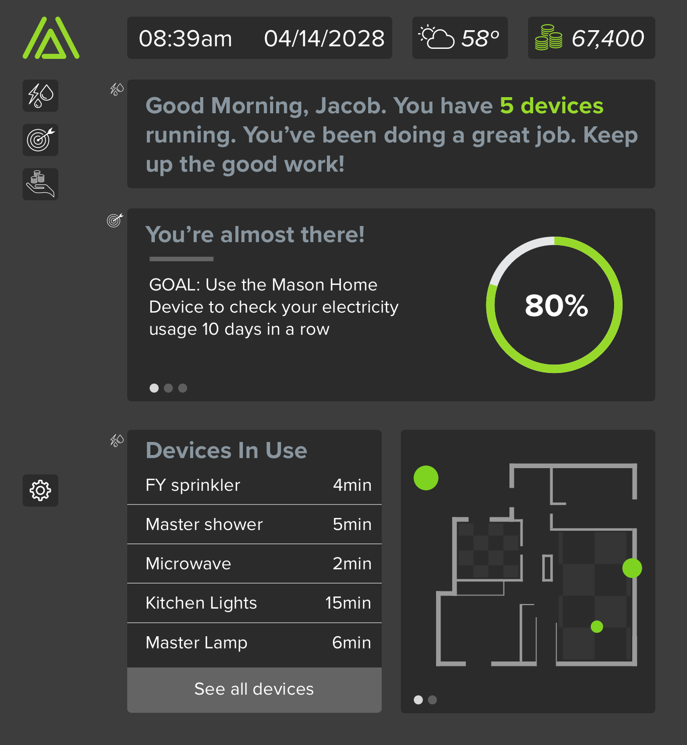 Home —  The home screen is where main notifications will go as well as a simplified version of the usage screens and goals. The interface is modular and would be customizable by the user.