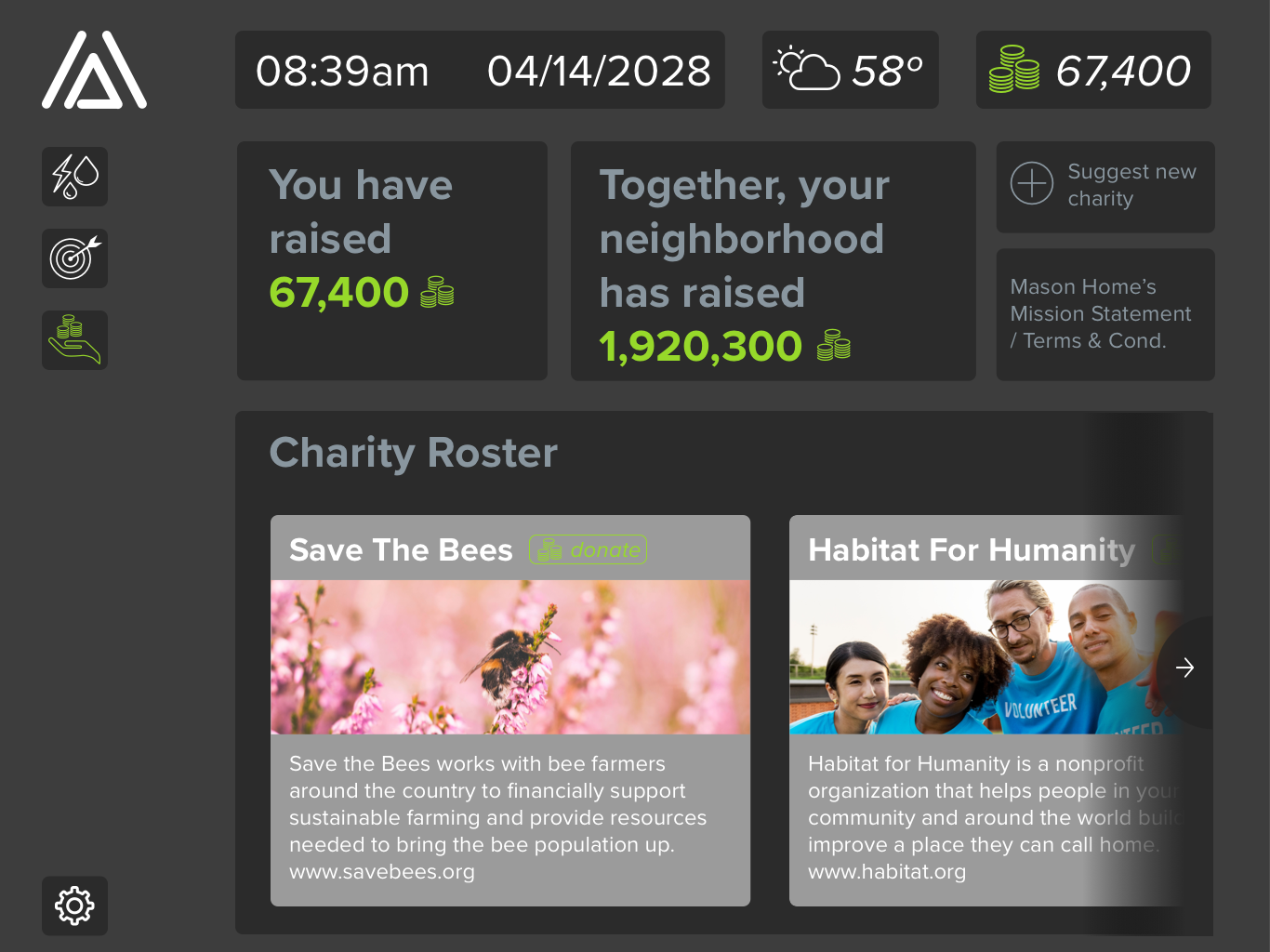 Charity —  When the user decides that it's time to use their mason coins, they go to the charity page and select a charity they wish to donate coins to, they can also suggest new charities that would be added to their regional roster.